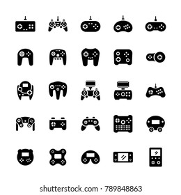 Gamepads icon set in flat style.Vector symbols