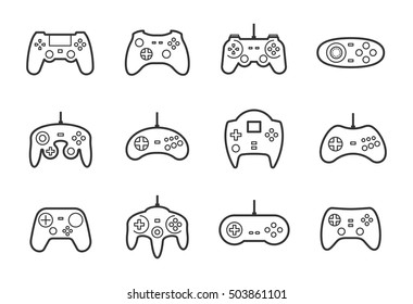 Gamepads vector icon set in thin line style