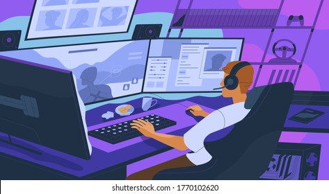 Gamer boy playing online network computer games at cybersport competition. Streamer playing shooter on professional screens at tournament. Flat vector illustration with cyber sportsman in the evening