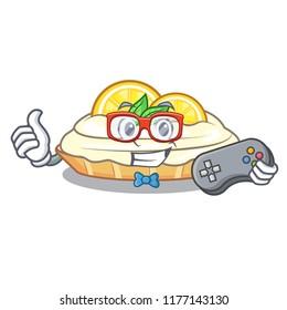 Gamer cartoon piece of yummy lemon meringue pie