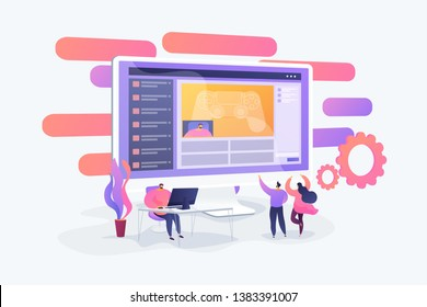 Gamer at computer streaming and commentating game process, tiny people. Video game walkthrough, popular video content, gaming video stream concept. Vector isolated concept creative illustration.