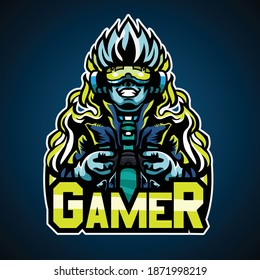 Gamer cyberpunk style, Mascot logo, Vector illustration. The cool logo suitable for e sport team and any logo team.