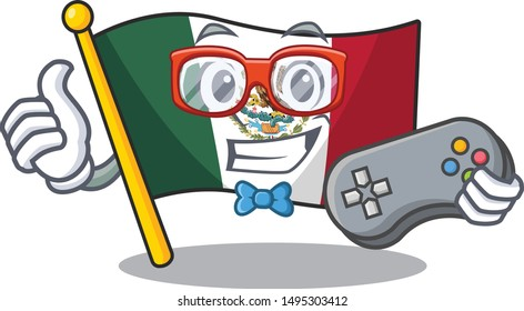 Gamer flag mexico isolated with the character