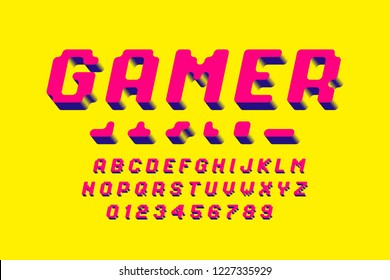 Gamer font, 3d stylized pixel style alphabet letters and numbers vector illustration