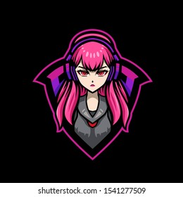 Gamer Girl Mascot Gaming Esport Logo Template