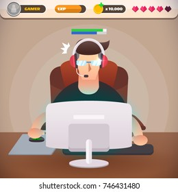 Gamer in headphone using computer for playing games with game interface. A man play the computer game. E-sport player. Character in a flat design, Vector illustration.