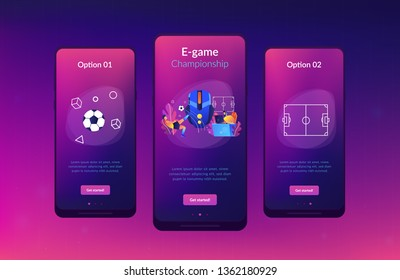 Gamer with headset at computer taking part in online footbal tournament. Sports games, online footbal tournament, e-game championship concept. Mobile UI UX GUI template, app interface wireframe