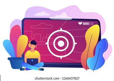Gamer in headset with laptop recording video game walkthrough. Video game walkthrough, popular video content, gaming video stream concept. Bright vibrant violet vector isolated illustration