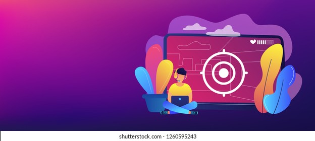 Gamer in headset with laptop recording video game walkthrough. Video game walkthrough, popular video content, gaming video stream concept. Header or footer banner template with copy space.