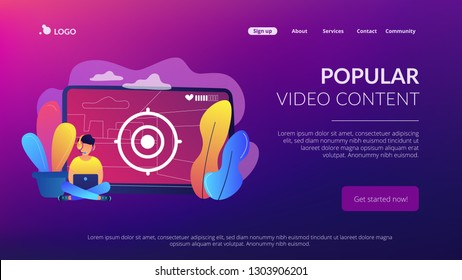 Gamer in headset with laptop recording video game walkthrough. Video game walkthrough, popular video content, gaming video stream concept. Website vibrant violet landing web page template.