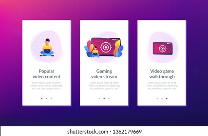 Gamer in headset with laptop recording video game walkthrough. Video game walkthrough, popular video content, gaming video stream concept. Mobile UI UX GUI template, app interface wireframe