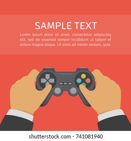 Gamer holding game controller. Gamepad or joystick in the hands of men. Man playing video games. Gaming in game console concept. Vector illustration in flat style. EPS 10.