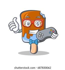 Gamer ice cream character cartoon