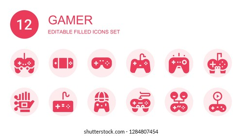 gamer icon set. Collection of 12 filled gamer icons included Gamepad, Wired gloves, Gamepads, Gameplay