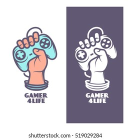 Gamer for life t-shirt design. Oldschool videogames related poster. Hand with joystick. Vector vintage illustration.