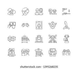 Gamer line icons, signs, vector set, outline illustration concept
