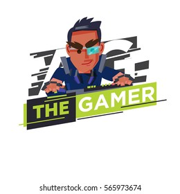 Gamer logo, hardcore gamer character design playing game by personal computer. computer mouse and keyboard. gamer concept - vector illustration