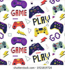 Gamer pattern. Seamless print with game controller for boys t-shirt, console video game graffiti with joystick. Bright colorful gamepad. Decor textile, wrapping paper wallpaper vector print or fabric