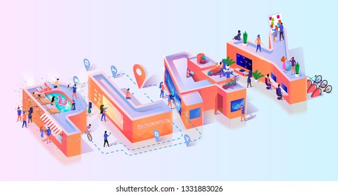 Gamer Play Online Social Game Typography Banner. School Party Entertainment Digital Technology. Gambling Software Advertising. Gamification Creative Concept Motivation Isometric 3d Vector Illustration