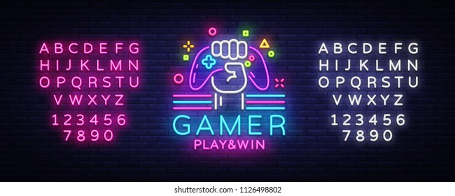 Gamer Play Win logo neon sign Vector logo design template. Game night logo in neon style, gamepad in hand, modern trend design, light banner, bright advertisement. Vector. Editing text neon sign