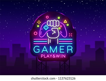 Gamer Play Win logo neon sign Vector logo design template. Game night logo in neon style, gamepad in hand, modern trend design, light banner, bright nightlife advertisement. Vector Billboard
