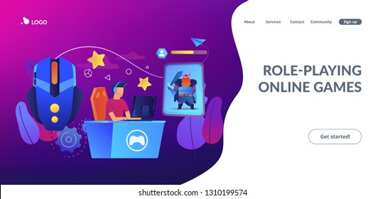 Gamer plays role-playing game online and hero avatar in fantasy world. MMORPG, massive multiplayer game, role-playing online games concept. Website vibrant violet landing web page template.