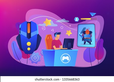 Gamer plays role-playing game online and hero avatar in fantasy world. MMORPG, massive multiplayer game, role-playing online games concept. Bright vibrant violet vector isolated illustration