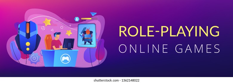 Gamer plays role-playing game online and hero avatar in fantasy world. MMORPG, massive multiplayer game, role-playing online games concept. Header or footer banner template with copy space.