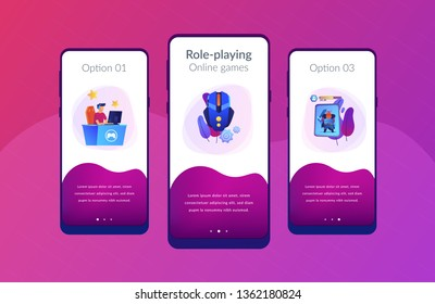 Gamer plays role-playing game online and hero avatar in fantasy world. MMORPG, massive multiplayer game, role-playing online games concept. Mobile UI UX GUI template, app interface wireframe