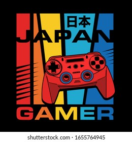 gamer typography with a joystick illustration, tee shirt graphics, vectors, Japan translate