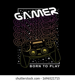 Gamer typography, tee shirt graphics, vectors , hand drawn artwork