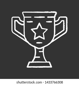 Gamer winning cup chalk icon. Virtual video game prize, award, reward. Esports championship. Champion, winner trophy. Cybersport competition. Isolated chalkboard illustration