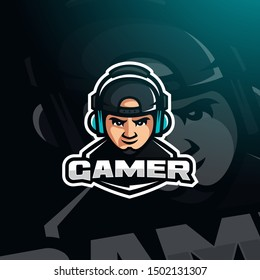 Gamer youtuber gaming with headphones and snapback hat cap mascot logo template, logo vector