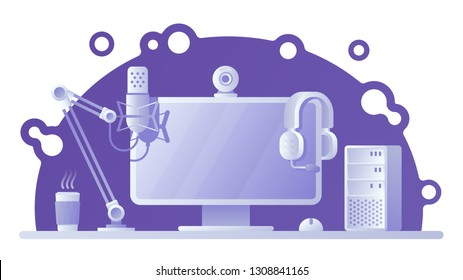 Gamers workspace illlustration. Twitch live streaming, away from keyboard. Esports afk or offline screen. Eps10 vector