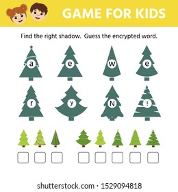 Games for children. Educational worksheet for kids. Find the right shadow.  Guess the encrypted word. Christmas tree