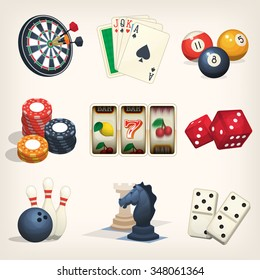 Games equipment icons for leisure games, casino and bar sports.
