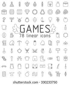 Games linear icons set, 78  icons for design, mmorpg icons, online games icons.
