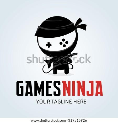 games ninja ninja logo gamer gaming vector logo template のベクター