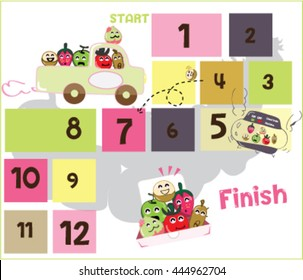 game-Snakes-and-Ladders-of-fruit