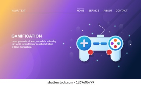 Gamification concept, application for playing games, video game console flat conceptual vector banner