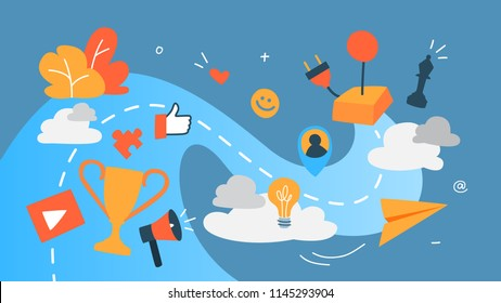 Gamification concept. Integrating game mechanics into website or app design. Customer engagement. Idea of competition. Set of colourful icons. Flat vector illustration