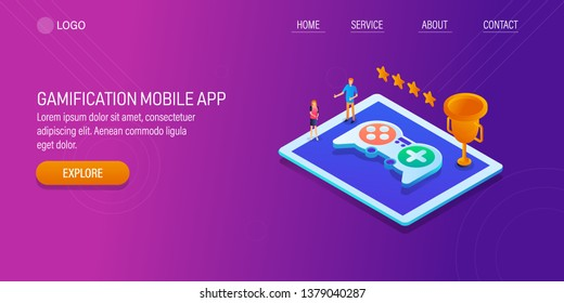 Gamification, gaming technology, online gaming competition, 3D, isometric vector banner