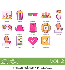Gamification icons including watching, popcorn, 3D glasses, same interest, subtitle, controller, red carpet, VIP seat, global movie, following, unfollow, share, love, notification.