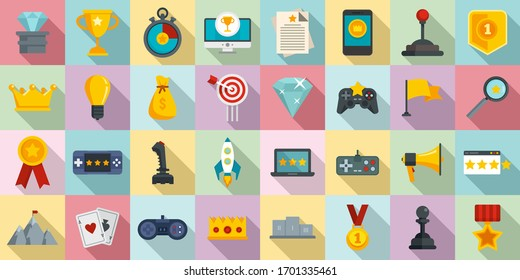 Gamification icons set. Flat set of gamification vector icons for web design