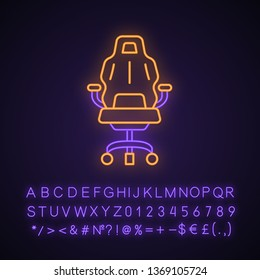 Gaming armchair neon light icon. Ergonomic chair. Esports equipment. Gaming comfortable environment. Glowing sign with alphabet, numbers and symbols. Vector isolated illustration