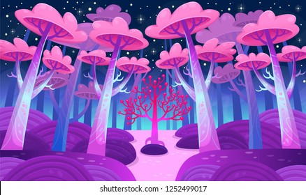 A gaming background, nature landscape. Night forest with magical trees and a lake. Cartoon style vector illustration.