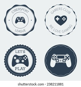gaming badges and labels with gamepads