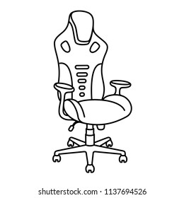 Gaming Chair Ergonomic Design. Isolated on white background. Vector flat line icon.
