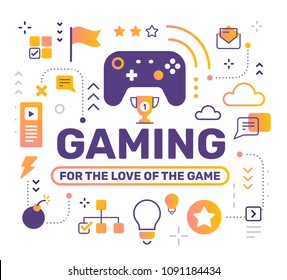 Gaming color concept with joystick on white background. Vector creative abstract illustration with title, game icon. Line art style design for web, site, banner