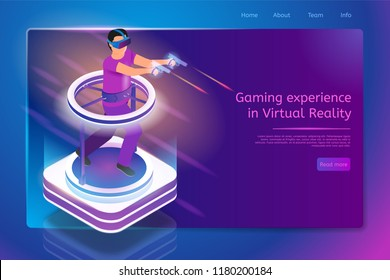 Gaming Experience in Virtual Reality Isometric Web Banner with Man in VR Goggles, Running on Treadmill, Shooting with Pistols while Playing Computer Game. Gaming Saloon Site Template with Hyperlinks